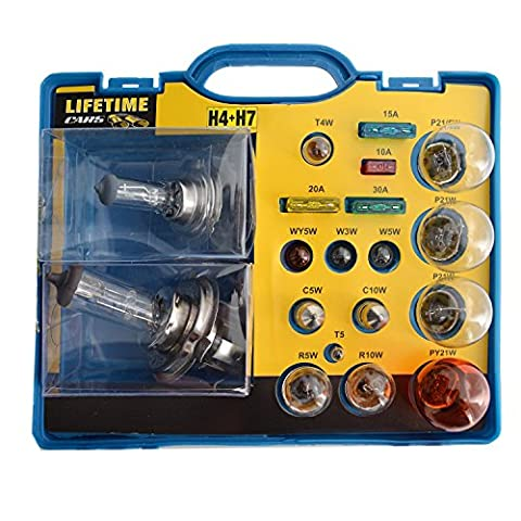 Silley® Kit de rechange Ampoules / Fusibles universel pour voiture, camion, quad … 19 pièces (15 ampoules + 4 fusibles) - coffret de secours - mallette d'urgence coffre - Ampoules H4 + H7 + P21/5W + … Fusibles 10A - 15A - 20A - 30A - phares, clignotant, feu stop, …