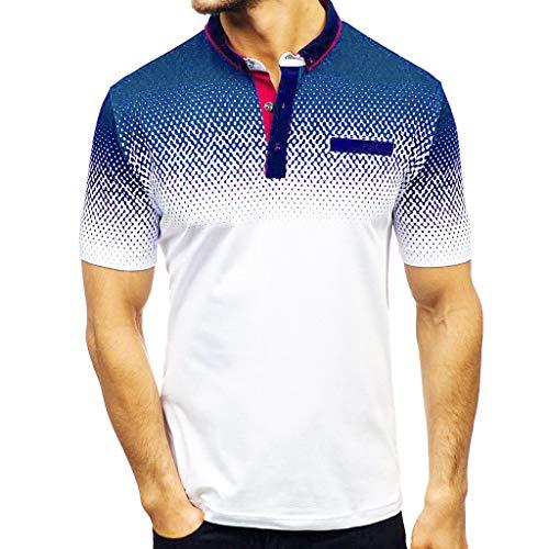 ZHANSANFM Poloshirt Herren Revers T-Shirt Aufdruck Polohemd Shirt Mit Polokragen Kurzarm Top Freizeit Fitness Sweatshirt Tops XXXL Weiß