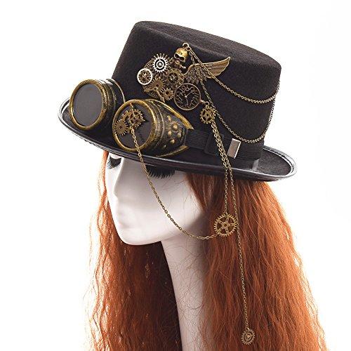 Style Steampunk Hut für Frauen mit Beflockung Federn Weihnachten Cosplay Schwarz Stirnband (Die Meisten Einzigartige Halloween Kostüme)