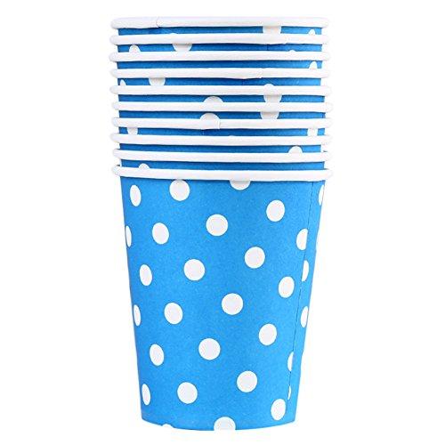 (aloiness 100Polka Dot Papier Tassen Einweg Hot Cold Coffee Papier Cup Einweg Kaffee/Tee Pappbecher für Ihr Zuhause, Café, Arbeit, Partys Oder Draußen, Blau, 8.3 * 7.4CM)