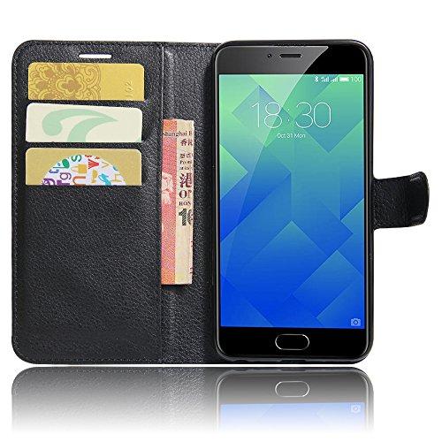 GARITANE Meilan 5/Meizu M5 Hülle Case Brieftasche mit Kartenfächer Handyhülle Schutzhülle Lederhülle Standerfunktion Magnet für Meilan 5/Meizu M5 (Schwarz)