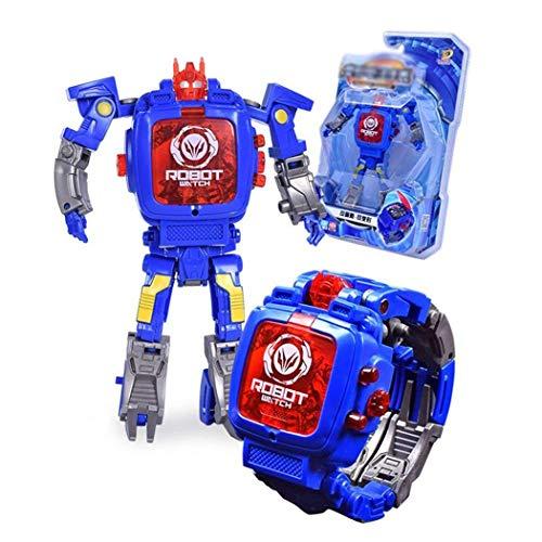 Yukio KinderToys -Elektronische Uhr für Kinder,verformbare Uhr Manuelle Transformation Roboter Spielzeug (Blau)