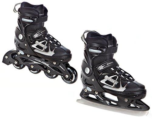 Raven 2in1 Schlittschuhe Inline Skates Inliner Spirit Black/White verstellbar Größe: 33-36 (20cm-22,5cm)