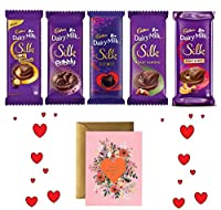 Valentines Special - Cadbury Combo Dairy Milk Silk Pack of 5 270 g with Greeting Card