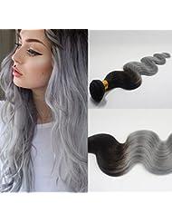 SHINING STYLE 18 pouces/45cm Ombre Couleur No1B/Grey Tissage Ondulés 100% Naturel Humain Cheveux Extensions 1...