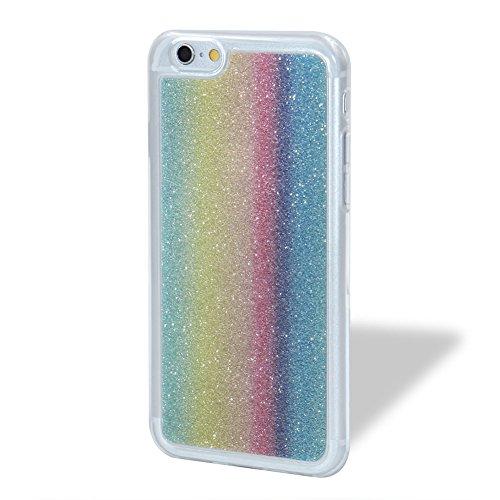 Für iPhone 6/6S 4.7 Zoll Schrittweise Farbwechsel TPU Cover, Herzzer Bling Glitter Schutz Hülle mit Liebe Herzen Ring Halter, Luxus Sparkles Glänzend Glitzer Silikon Crystal Case Durchsichtig Soft Rüc Vertikaler Regenbogen