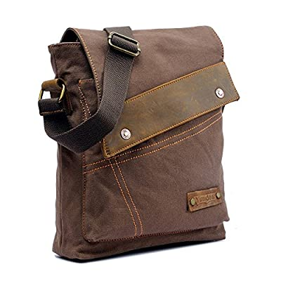 Yimidear Men's Retro Vintage Canvas Bag Messenger Bag Single Shoulder Bag Briefcase