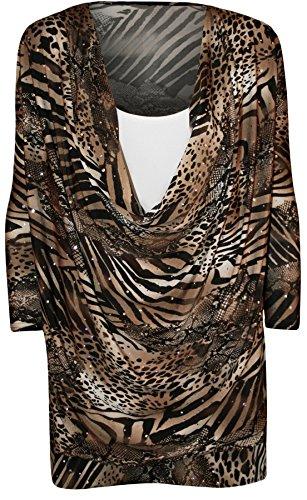 WearAll - Taille Plus Imprimer col bénitier manches courtes Insérer Top - Hauts - Femmes - Tailles 42 à 56 Moka