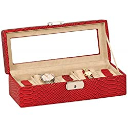 Luxury Red Alligator Embossed Bonded Leather 5 Watch Box - Glass Viewing Panel