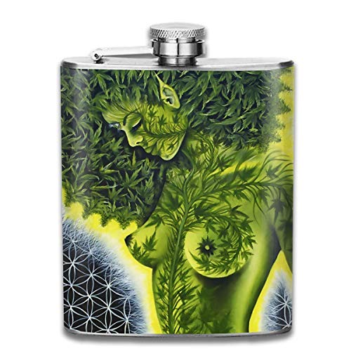 Stainless Steel Leak-Proof Hip Flask African Woman Weed Leaves Art Flagon Whiskey Container Flask Pocket for Unisex -