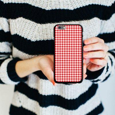 Apple iPhone 5s Housse Étui Protection Coque Carreau Rouge Motif CasDur noir