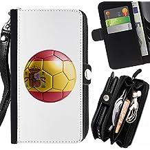 STPlus Bandera y balón españoles del equipo de fútbol de España Monedero Con Correa y Cremallera Carcasa Funda para Sony Xperia M2 / Xperia M2 Dual