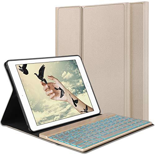 SENGBIRCH Tastatur Hülle Cover für iPad 2018, iPad 2017, iPad Air 2 / Air 1, iPad Pro 9.7 - Magnetischen Schlaf/Wach mit Hinterleuchtet Abnehmbar German Tastatur - Gold -