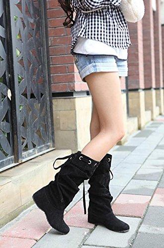 Automne 5 41 Noir grande taille bottes hiver mode 5 à femmes 34 7f7rw