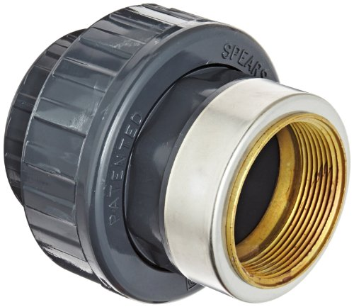 Spears 899-br Serie PVC-Rohr Fitting, Union mit EPDM O-Ring, Schedule 80, Stecknuss x Messing NPT weiblich, 1-1/2