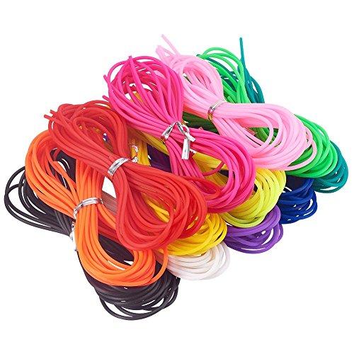 NBEADS 60 Stränge von 1M Kunststoff Zeichenfolge 2mm Dicke PVC Schlauch Gummi Seil Seil Schmuck Kabel, Mischfarbe