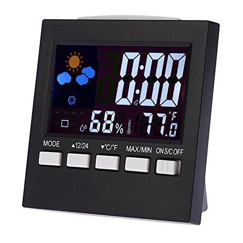 Demiawaking Réveil numérique station météo hygromètre intérieur ou extérieur avec humidité de température Snooze Date Jour Affichage de rétro-éclairage LCD