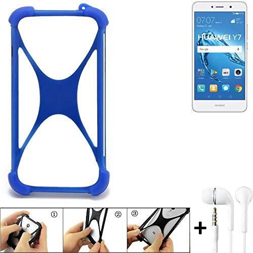 K-S-Trade Handyhülle für Huawei Y7 Dual SIM Bumper Schutzhülle Silikon Schutz Hülle Cover Case Silikoncase Silikonbumper TPU Softcase Smartphone, Blau (1x), Headphones