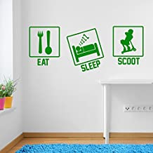 Stunt Scooters Eat Sleep Scoot Sports Window Stickers Wall Decor Wall Stickers Wall Art Wall Decals Stickers Wall Decal Decals Mural Décor Diy Deco Removable Wall Decals Colorful Stickers