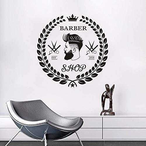 fkleber Friseur Haarschnitt Bart Gesicht Werkzeuge Logo Wandtattoo Friseursalon Abnehmbare Wandbilder Haarschnitt Fenster Kunst 42 * 43 cm ()