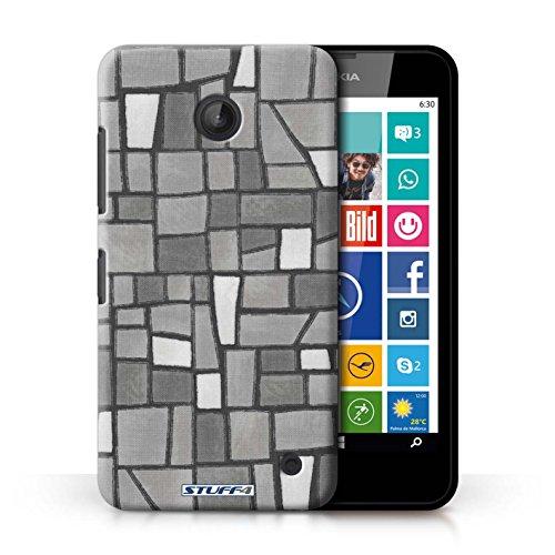 Kobalt® Imprimé Etui / Coque pour Nokia Lumia 635 / Pourpre/Blanc conception / Série Carrelage Mosaïque Gris/Blanc