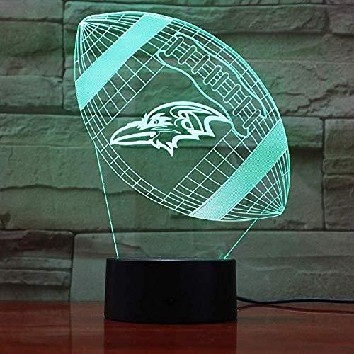 Baltimore Ravens Rugby 3D Lava Lampe Kreative Farbwechsel Led Nachtlicht Stimmung Dekor Geschenk Schlafzimmer Tischlampe 3D (Baltimore Ravens Dekorationen)