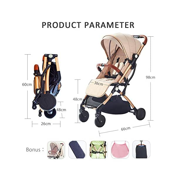 SONARIN Lightweight Stroller,Compact Travel Buggy,One Hand Foldable,Five-Point Harness,Great for Airplane(Green) SONARIN Size:Suitable from birth up to 25kg, length:66CM, width:48cm, height:98cm.Folding up:60CM*48CM*26CM. Great for Airplane,can be placed in any car boot. Safe:With sturdy aluminum alloy, compact body and five-point seat harness,each stroller has been pressure tested to provide security for each baby. Quality and Design:The backrest of the stroller supports sitting, half lying, lying,all three angles,lengthened and widened sleeping basket. Four wheel independent shock absorbing and built-in bearings make it smoother and quieter. 7