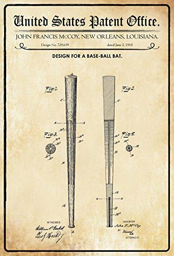 Schatzmix United States Patent Office - Design for a Baseball Bat - Entwurf für Ein Baseballschläger - McCoy, Louisiana, 1903 - Design No 729.639 - Blechschild