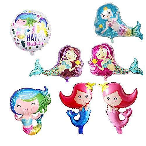 thematys Lustige Meerjungfrau Ballons - Luftballons 7 Stück - für Partys und Geburtstage