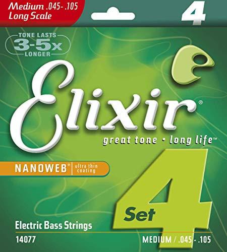 Elixir 14077 Electric Bass Saiten 4 Medium Long Scale Nanoweb Coating