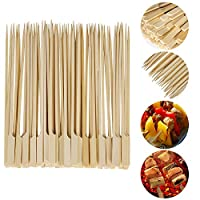VABNEER 200 Pieces BBQ Bamboo Stick Wooden Skewers Sticks Wooden Barbecue Skewers for Barbecues, Vegetables, Fruits, Family Parties (18cm)