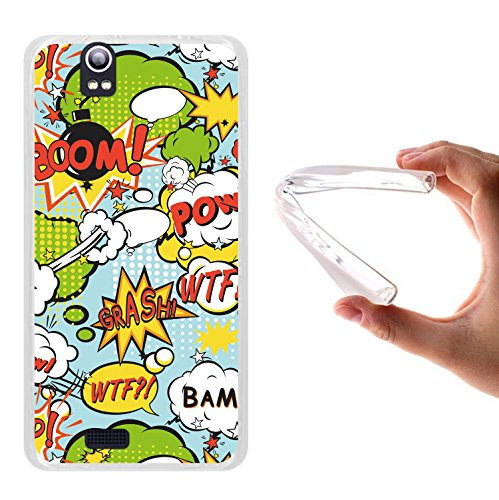 WoowCase Funda Kazam Trooper 450, [Kazam Trooper 450 ] Funda Silicona Gel Flexible Comic Style Explosiones, Carcasa Case TPU Silicona - Transparente