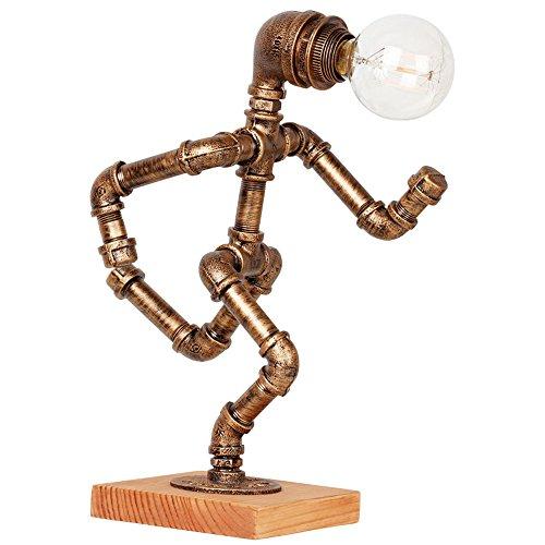 Lithx Loft Rétro Main Tuyau D'eau En Métal Lampe de Table E27 Edison Steampunk Lampe de Bureau En Bois Solide Bureau Lumière pour Café Bar Chambre Chambre À La Maison Chevet avec Interrupteur De Gradation ( Size : B. )