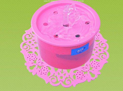 Komener_ Fuente automática de Recirculación de Oxígeno dispensador de Agua para Mascotas Pet Dispenser con esteras (Rose Red)