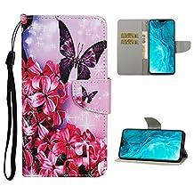 Portemonneehouder Samsung Galaxy S10 Plus Rode bloem vlinder