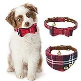 JDYW 2 stücke Hundehalsband Leder Katzenhalsband Bandana Rot Fliege Krawatte Halstuch für Kleine Hunde und Katzen, 25-30 cm