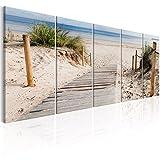 murando - Bilder Strand 200x80cm - Leinwandbilder - Fertig Aufgespannt - Vlies Leinwand - 5 Teilig - Wandbilder XXL - Kunstdrucke - Wandbild - Landschaft Meer c-C-0178-b-m