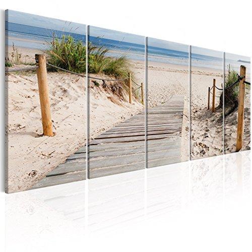 murando - Bilder Strand 225x90 cm Vlies Leinwandbild 5 TLG Kunstdruck modern Wandbilder XXL Wanddekoration Design Wand Bild - Landschaft Meer c-C-0178-b-m