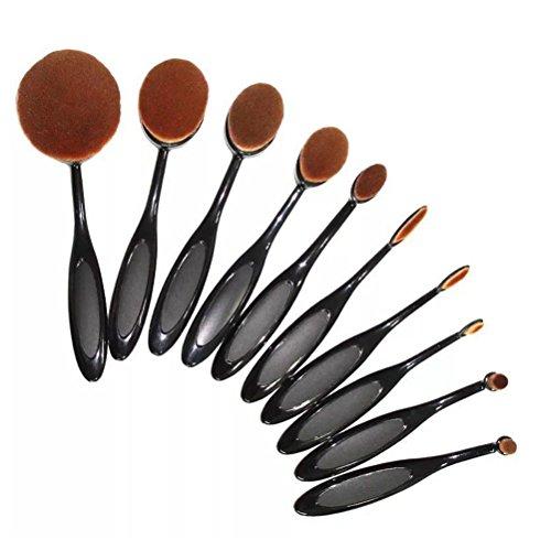 Umily 10PCS Kit /Set souple Oval Toothbrush Sourcils Eyeliner Fondation Blush Lip Brosses-Noir