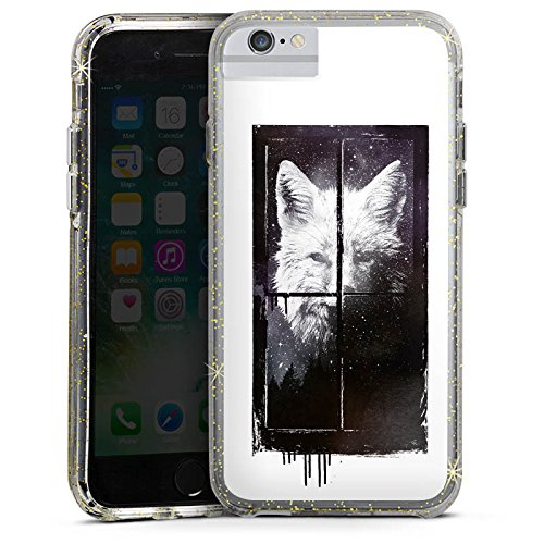 Apple iPhone 6s Bumper Hülle Bumper Case Glitzer Hülle Wolf Nacht Art Bumper Case Glitzer gold