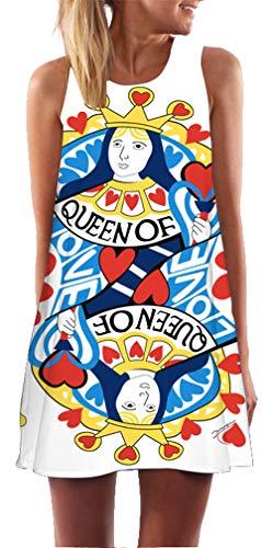 Ocean Plus Damen Sommer Ärmellos Bunt Tops Kleider Pfau Blumen Strandkleider Eule Kurz A Linie Kleid Cover Up (XXL (EU 42-44), Königin der (Königin Der Herzen Leggings)