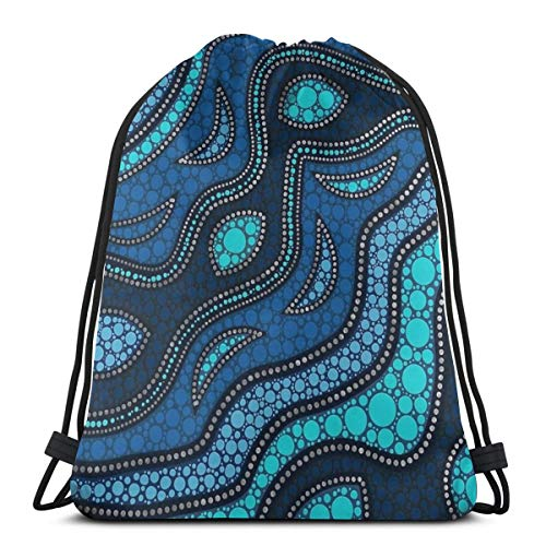 Dot Art Aboriginal Australian inspirierte 3 Kordelzug Rucksack Tasche Kordelzug Tote Bag Sling Bag Sporttasche geeignet für Schule Gym Trip -