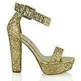 ESSEX GLAM Sandola Donna Cinturino Caviglia Piattaforma Sintetico Tacco a Blocco Festa Scarpa (UK 6 / EU 39 / UK 8, Oro Glitter)