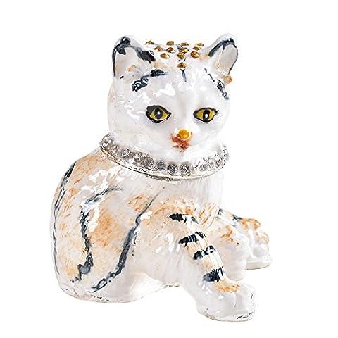 Micg Cat Boîte à bijoux bague support Animal figurine Collection Boîte à souvenirs pour fille