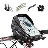 WHEEL UP Fahrrad Lenkertasche Handyhalter Fahrrad Tasche mit Wasserdichte Kann Touch Screen Für Smart Phone Passend bis zu 6 Zoll Fahrrad Radfahren Reifen Repair Tool Kit & Glueless Puncture Repair Kit ( Schwarz )