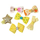 #8: Phenovo 6Pcs Mixed Ribbon Bow Yellow Polyester Hair Clips For Girls