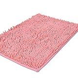 Tappeto da bagno shag-style in ciniglia antiscivolo, tappetini doccia assorbenti shaggy, 39,9x 59,9cm., Pink, 40 x 60 cm