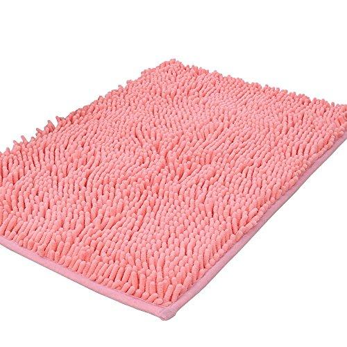 Tappeto da bagno shag-style in ciniglia antiscivolo, tappetini doccia assorbenti shaggy, 39,9x 59,9cm., pink, 50 x 80 cm