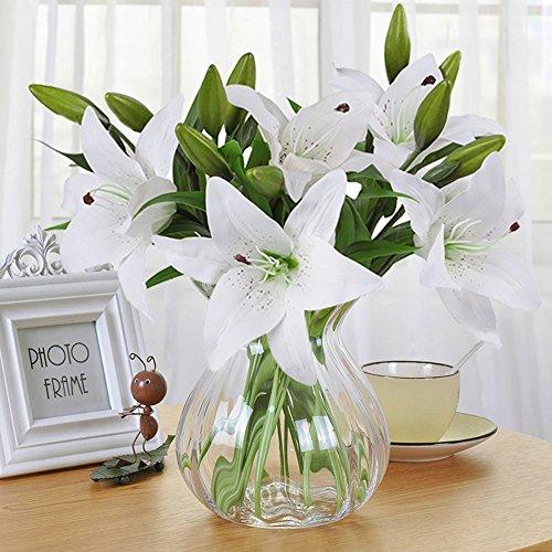 Künstliche Blumen, Meiwo 5 Stück Real Touch Latex Künstliche Lilien Blumen in Vasen Hochzeit Sträuße / Home Dekor / Party / Graves Arrangement(Weiß) (Weiße Blumen In Vase)