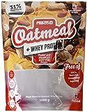 Prozis Oatmeal with Whey Protein 1000g - Farina D'Avena, Cereali Ricchi di Carboidrati di Alta Qualità e Fibre Sazianti - Al Gusto Burro di Arachidi - Adatto per Vegetariani - Fa Bene al Cuore - 12 Porzioni